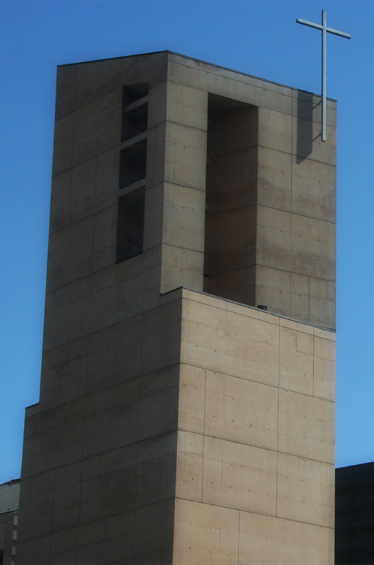 A concrete church tower in downtown Los Angeles, California