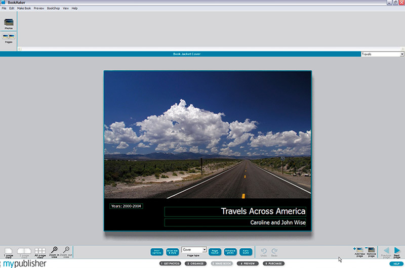 Screen capture of MyPublisher while putting together a book of travel photos from Caroline and John Wise