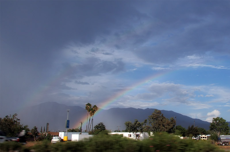 A rainbow north of the 10 freeway near Riverside, California