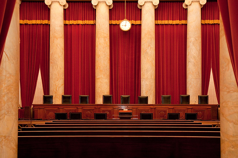 Inside the chamber of the U.S. Supreme Court in Washington D.C.