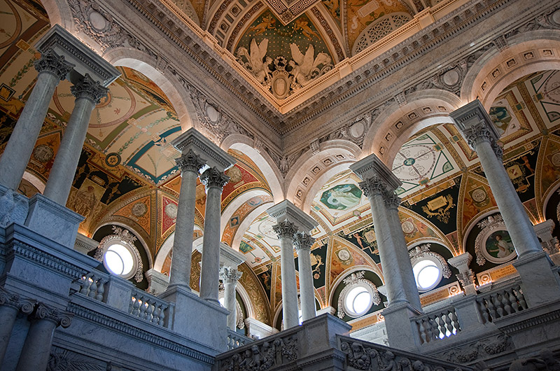 Detail inside the Library of Congress in Washington DC