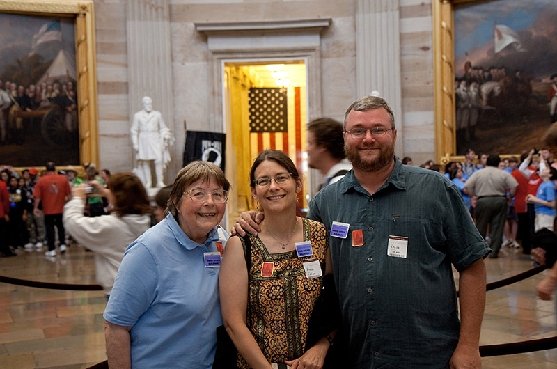 Jutta Engelhardt, Caroline Wise, and John Wise under the U.S. Capitol dome in Washington DC