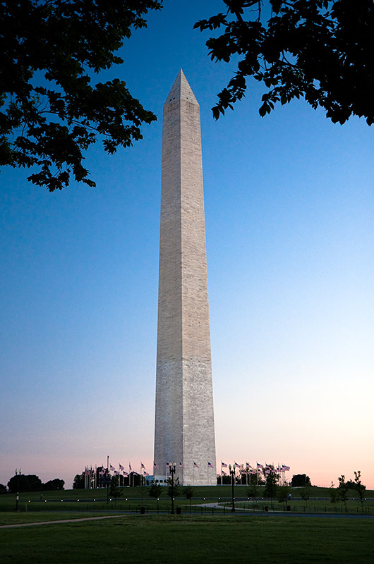 The Washington Monument at sunset in Washington DC