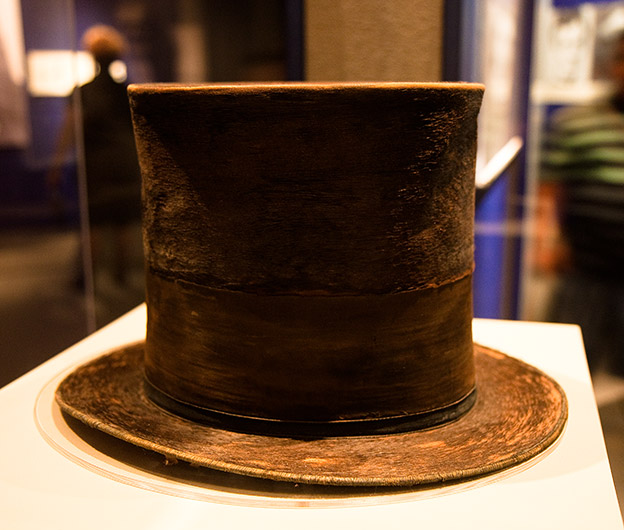 The top hat worn by Abraham Lincoln the evening he was assassinated