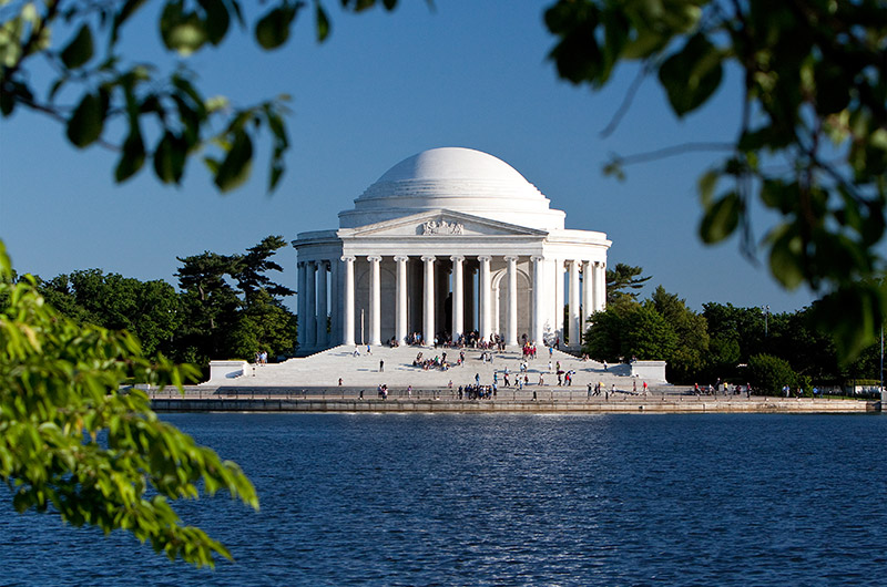 The Jefferson Memorial on the tidal basin in Washington D.C.