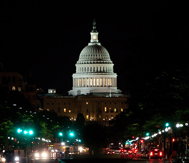 The U.S. Capitol at night in Washington D.C.