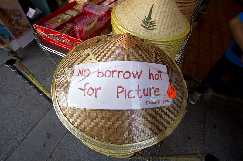 A straw hat on display in China Town - Los Angeles, California