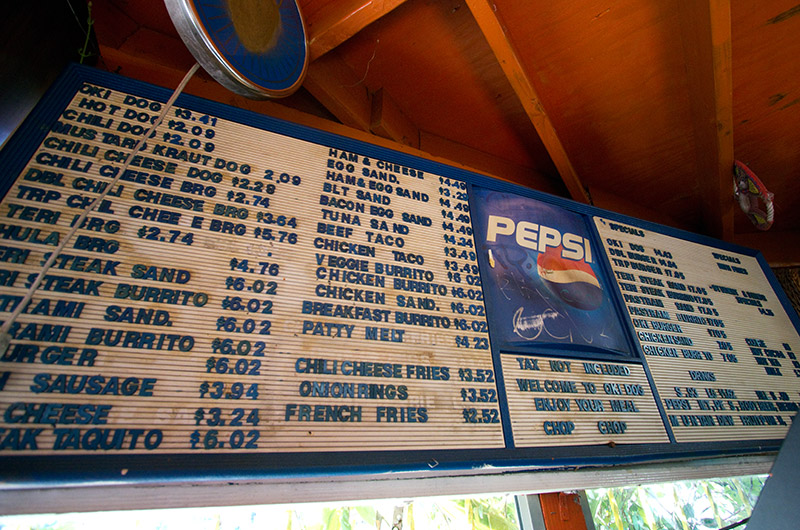 Menu from Oki Dog in Hollywood, California