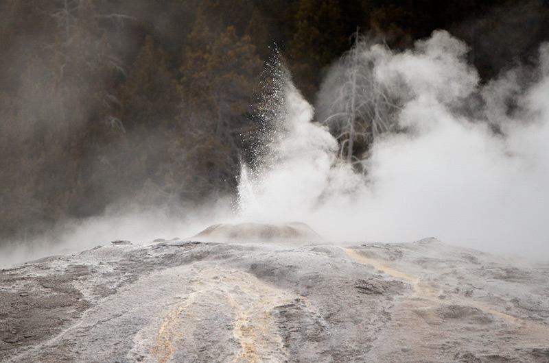 A small eruption at the Lion Group on the Upper Geyser Basin in Yellowstone National Park January 2010