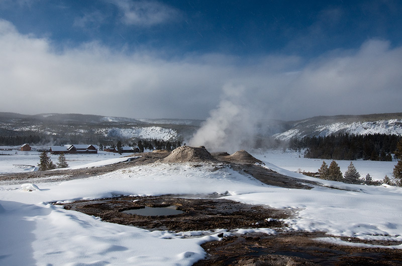 The Lion Group on the Upper Geyser Basin in Yellowstone National Park January 2010