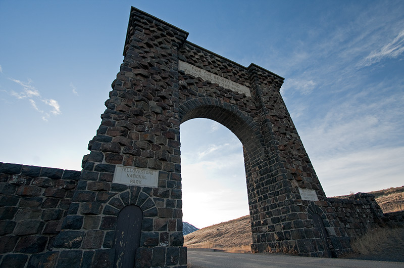 Roosevelt Arch at the north entrance of Yellowstone National Park January 2010