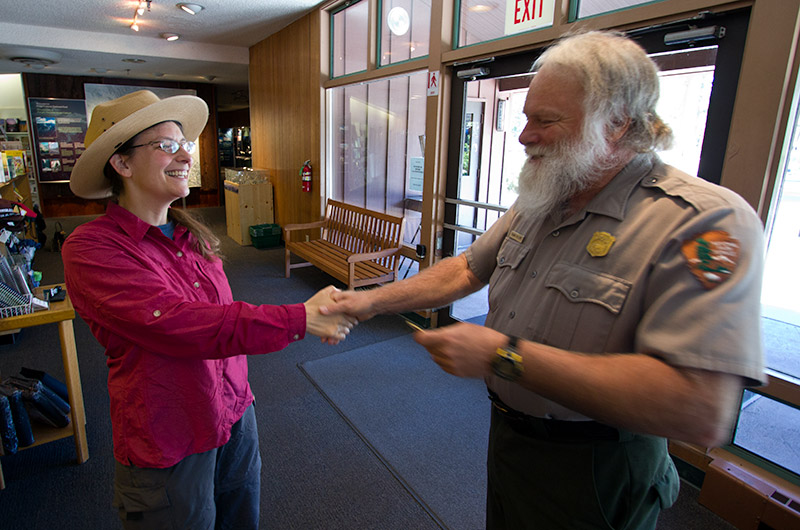Caroline Wise receiving her Junior Range pledge from Ranger Frank Helling at Kings Canyon National Park in California