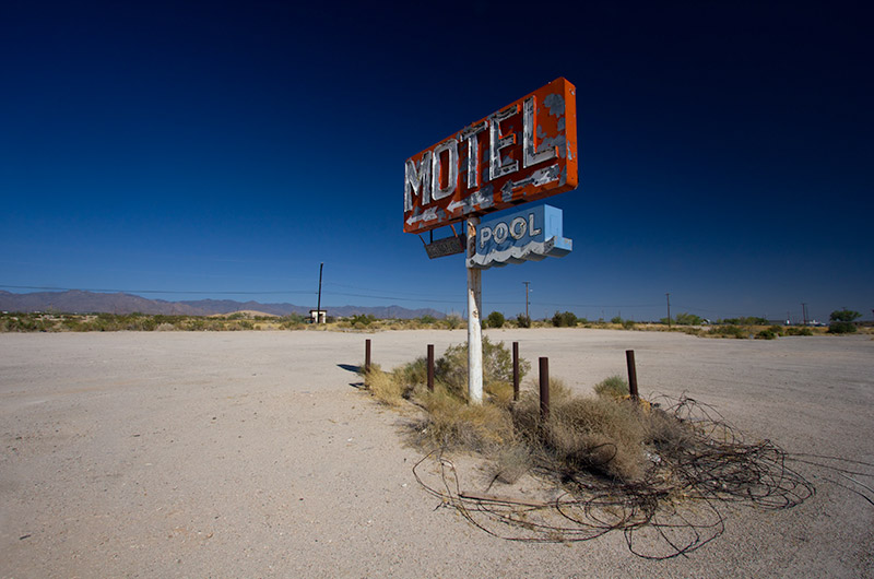 A motel sign for a motel that is long gone in Yucca, Arizona