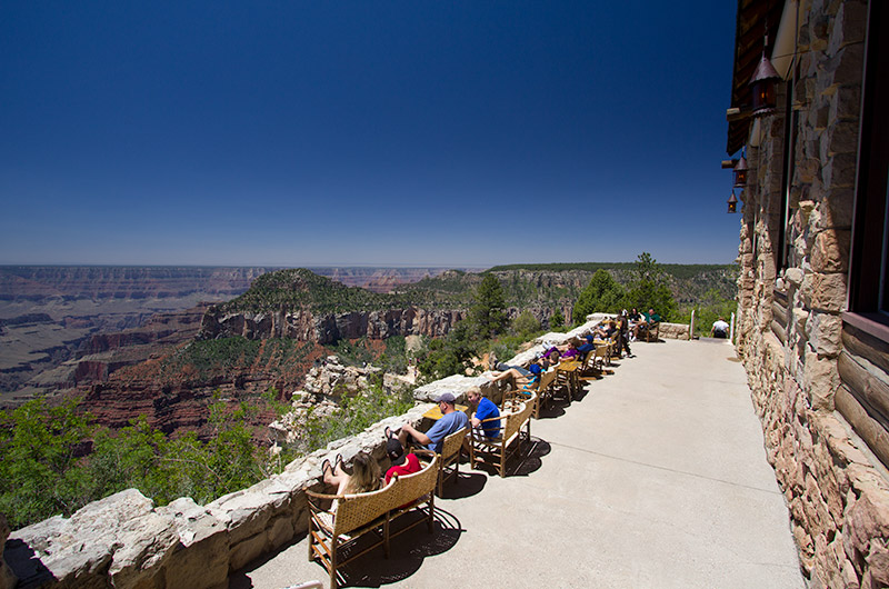 Sitting on the patio at the edge of the Grand Canyon on the north rim