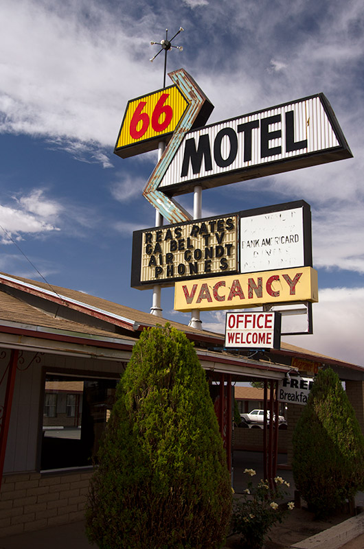 The sign for the 66 Motel in Holbrook, Arizona