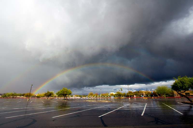Double rainbow as seen from the parking lot of Paradise Valley Community College in Phoenix, Arizona