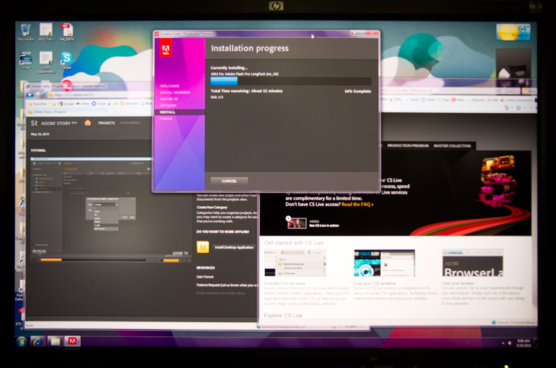 Photo of my monitor while installing Adobe CS5 Production Premium