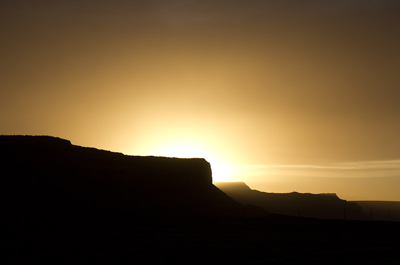Sunset north of Kayenta, Arizona on the Navajo Reservation