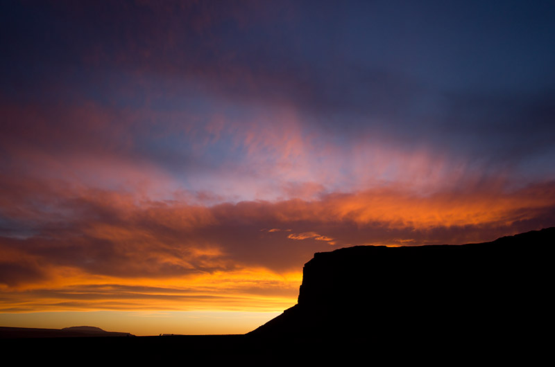 Sunset at Monument Valley on the Navajo Reservation in northern Arizona