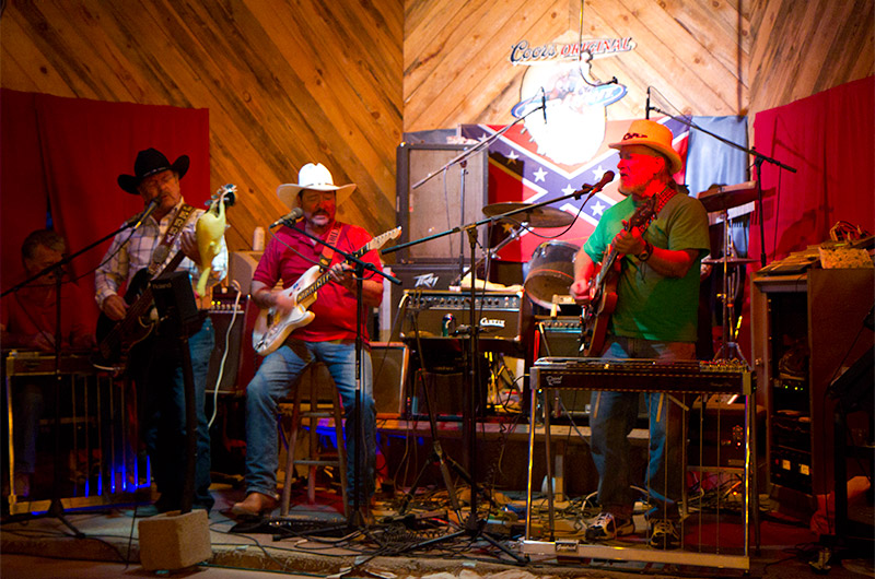 The local band knocking out some tunes for the visitors of Mexican Hat Lodge and the Home of the Swinging Steak in Mexican Hat, Utah