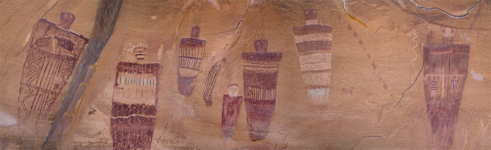 Pictograph rock art at the Great Gallery in Horseshoe Canyon at Canyonlands National Park in Utah
