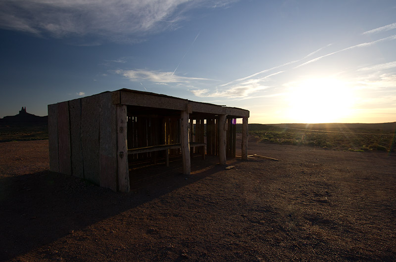 An empty sales stall at Monument Valley in Utah at sunset