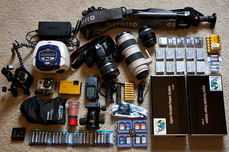 Various cameras, batteries, and electronic gear going down the Colorado River through the Grand Canyon National Park on an 18 day dory trip