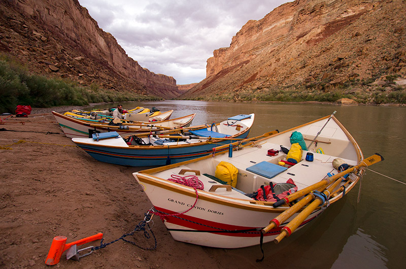 Dories at Soap Creek on the Colorado river in the Grand Canyon - our first campsite.
