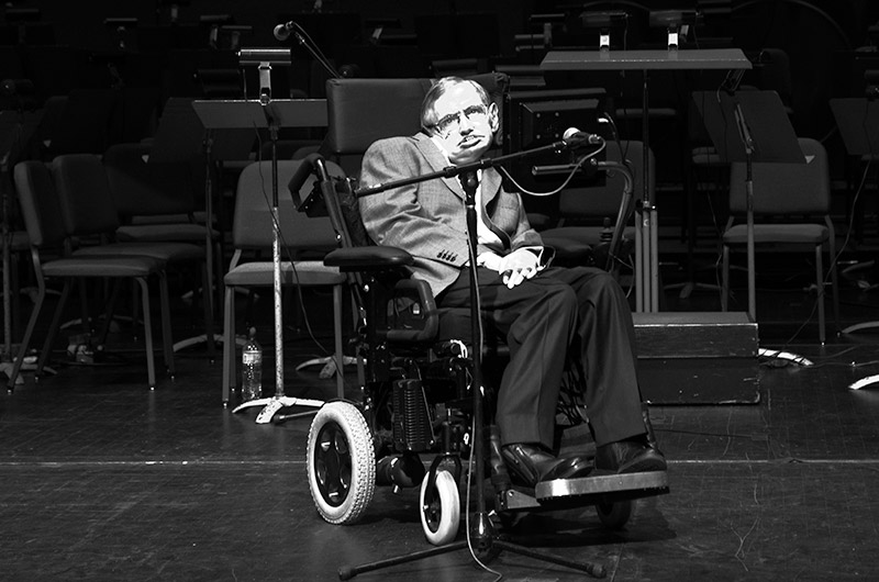 Professor Stephen Hawking at Gammage Auditorium in Tempe during the Origins Science Festival