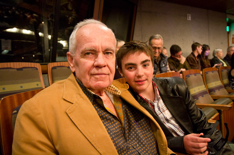 Cormac McCarthy and his son John sitting next to Caroline and I in Tempe, Arizona for a screening of Cave of Forgotten Dreams