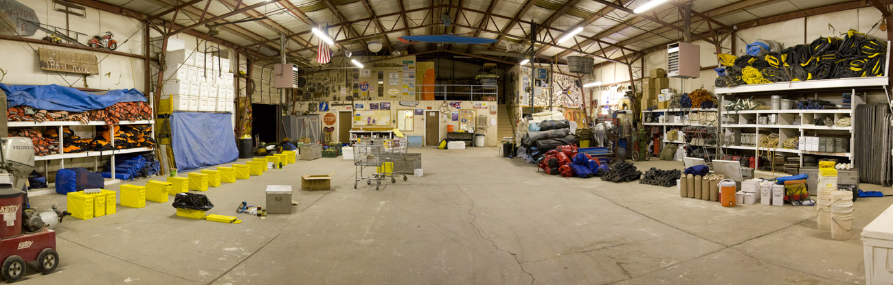 Inside the Western River Expeditions warehouse in Fredona, Arizona