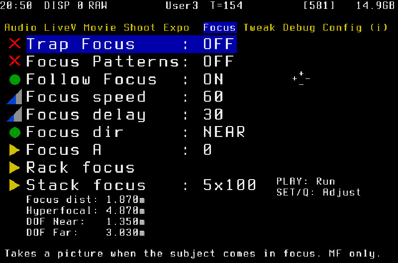 The Focus menu screen from Magic Lantern