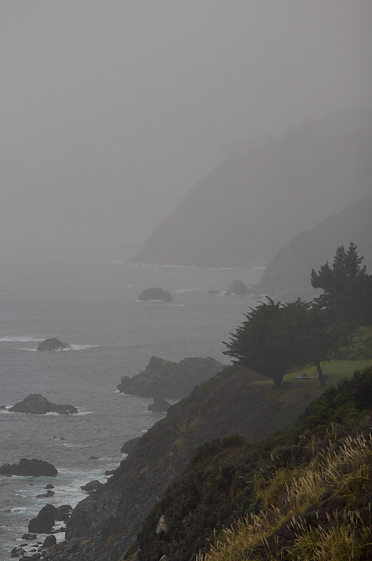 A mist and cloud enshrouded California coast on the Pacific Coast Highway