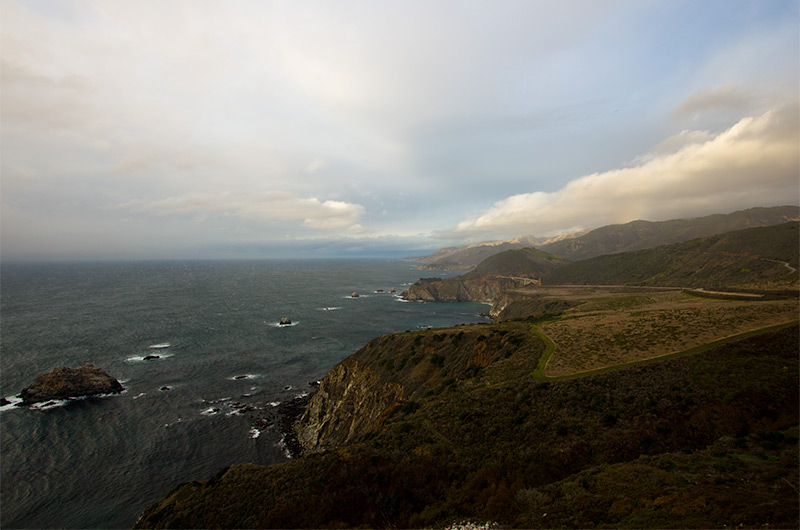 A bit of sun and blue sky on an otherwise rainy day on the Big Sur coast in California