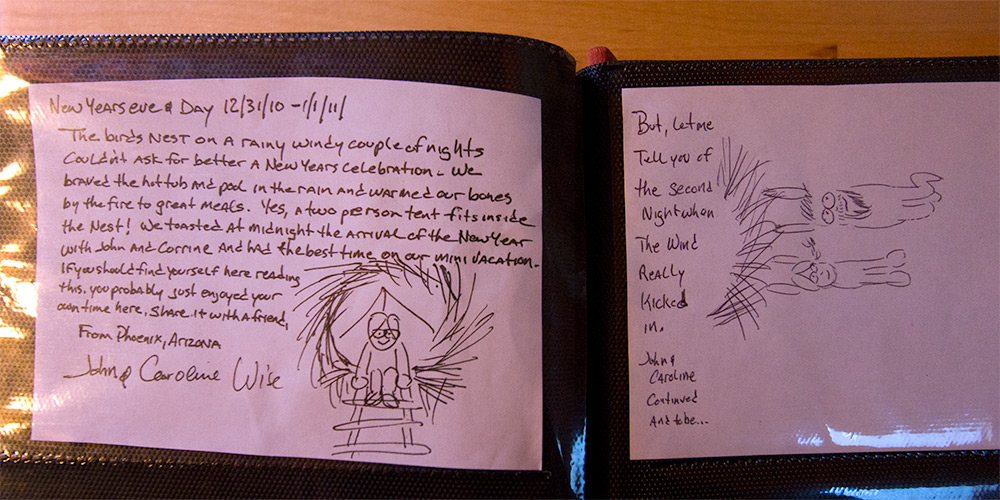 Our guest book entry at Treebones Resort in Big Sur, California