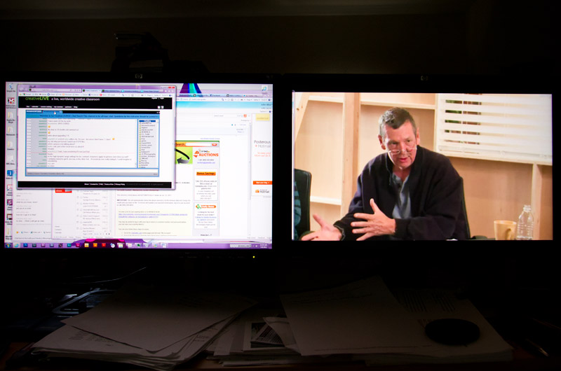 Photo of my computer monitors while I was watching the Gale Tattersall webinar about HDSLR filmmaking at www.creativelive.com