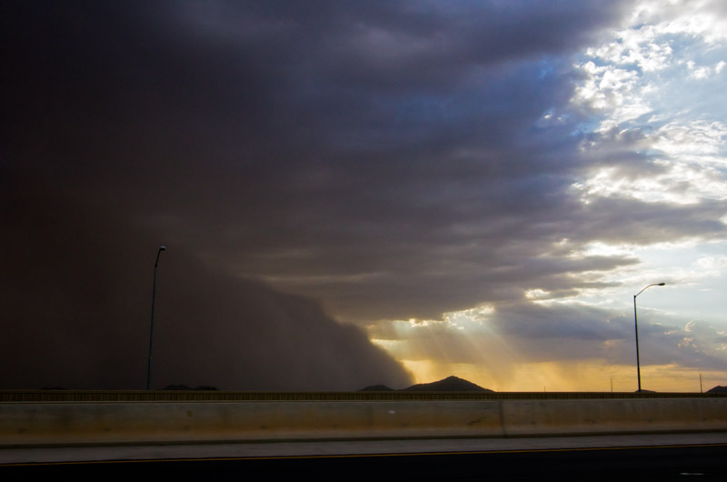 A dust storm, also known as a Haboob, arrives from the south to blanket Phoenix, Arizona in dust