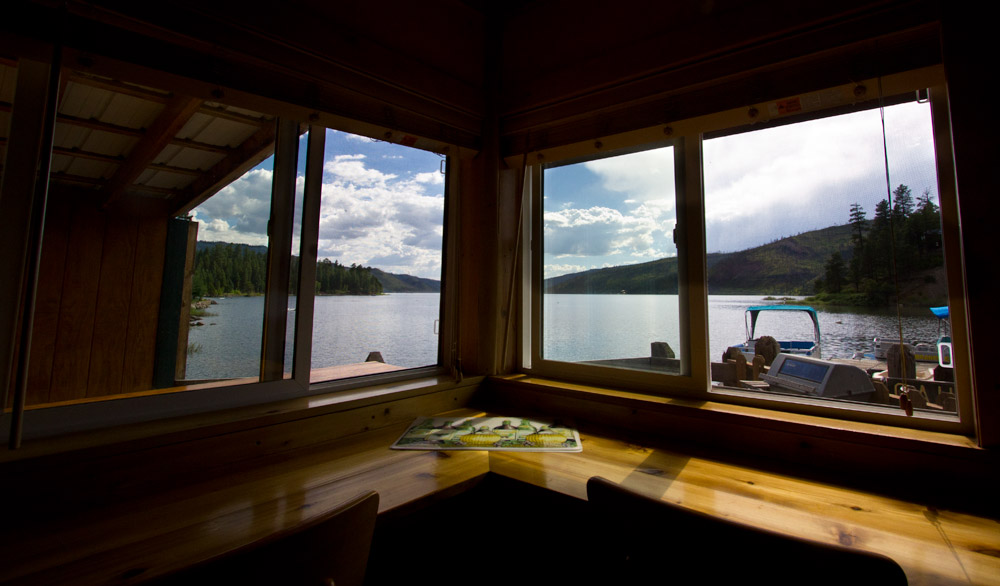 The view of Vallecito Reservoir from out cabin on the boat dock at the 5 Branches Camper Park