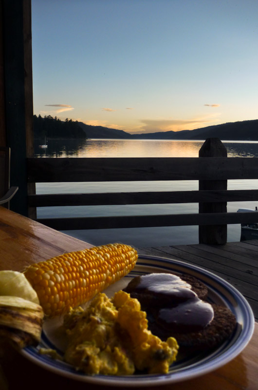 Dinner on the dock at Five Branches Camper Park on Vallecito Reservoir in Bayfield, Colorado