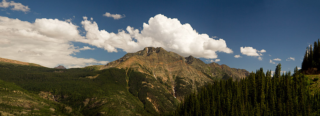 Panorama of a mountain top and its surrounding area in the San Juan Mountains north of Durango, Colorado