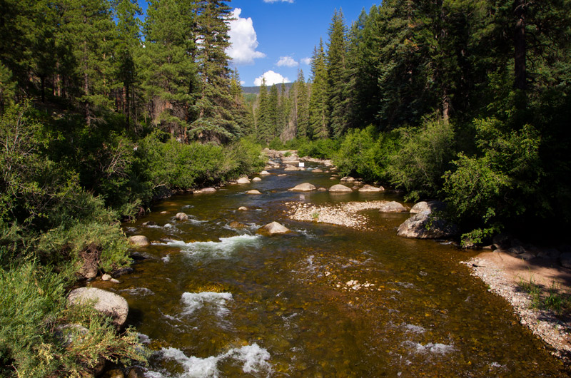 Los Pinos River just before entering Vallecito Resevoir in Bayfield, Colorado
