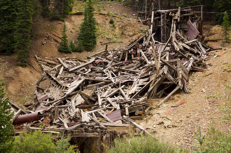 The wreckage of a former mine works north east of Silverton, Colorado