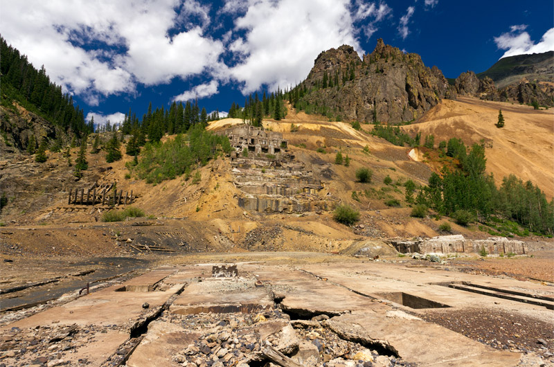 An old mine works in the ghost town of Eureka, Colorado