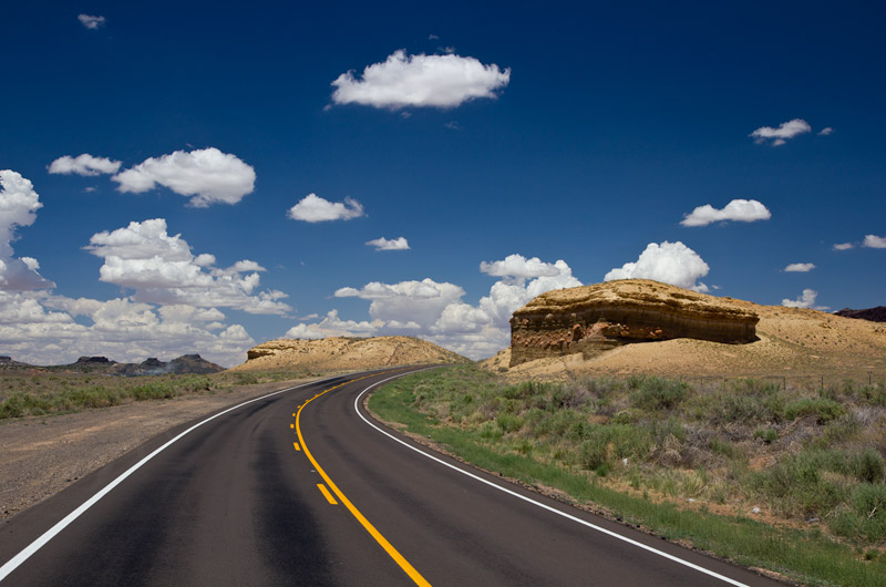 A curve in the road on the Navajo Reservation in Arizona