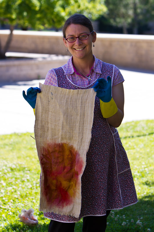 Caroline Wise about to dye her cloth artwork in indigo at IWC in Durango, CO