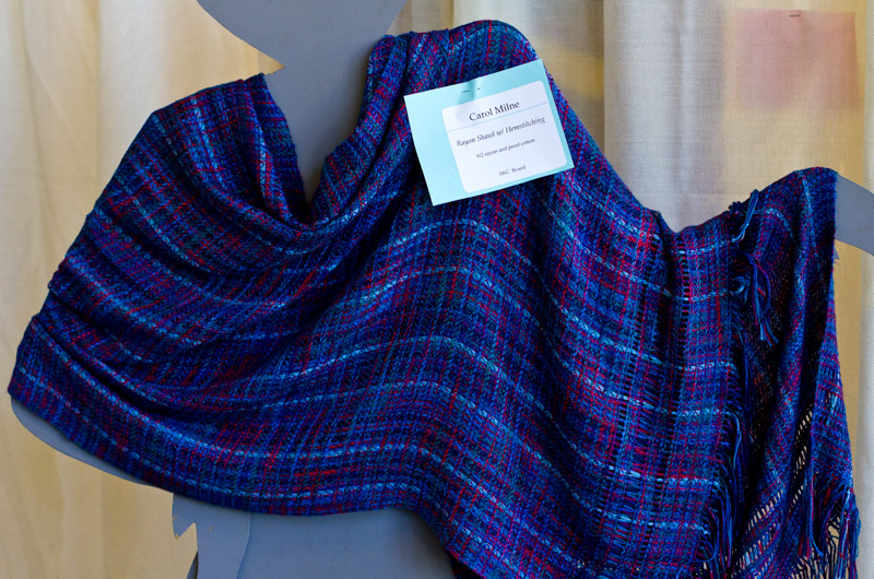 A hand woven shawl on display at IWC in Durango, Colorado