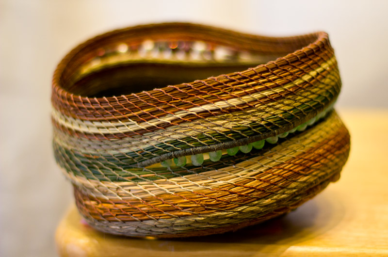 A handwoven basket on display at the non-juried Intermountain Spirit Exhibit, part of the IWC held in Durango, Colorado
