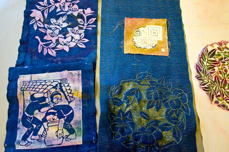 Caroline Wise's finished pieces of Katazome style fabric dyeing at IWC in Durango, Colorado