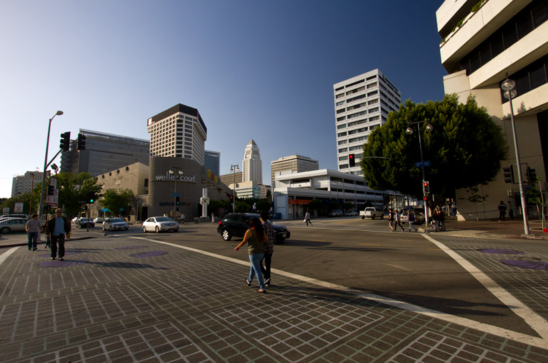 Looking at the south-eastern edge of Little Tokyo in downtown Los Angeles, California