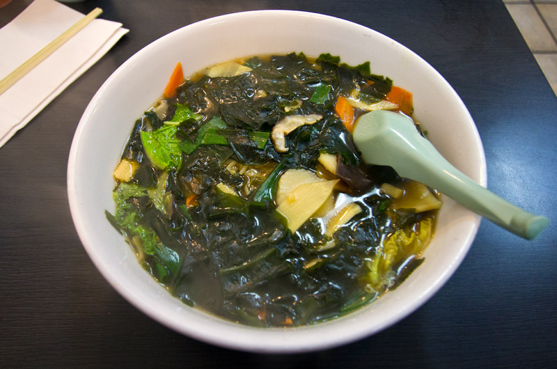 A bowl of steaming hot seaweed and tofu ramen from Ramenya on W. Olympic Blvd in Los Angeles, CA
